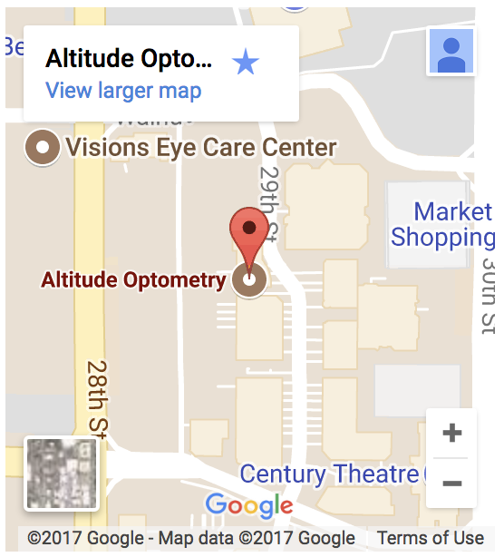 Altitude Optometry google map sidebar